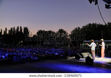 MADRID, SPAIN - SEPT 14: Kings of convenience band performs at Complejo Deportivo Cantarranas on September 14, 2012 in Madrid. Dcode Festival.
