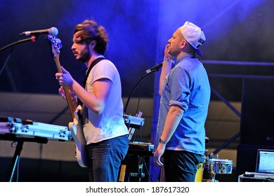 MADRID, SPAIN - SEPT 14: The Shoes band performs at Complejo Deportivo Cantarranas on September 14, 2012 in Madrid. Dcode Festival.