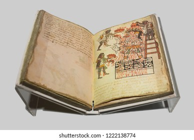 Madrid, Spain - Sept 8th, 2018: Facsimile book of Actec Codex Tudela. Museum of the Americas, Madrid, Spain