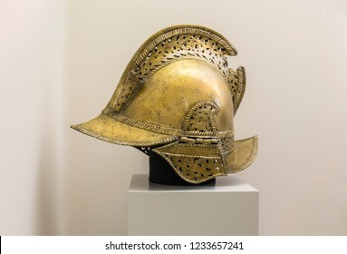Madrid, Spain - Sept 8th, 2018: Bronze helmet of a 16th century Spanish soldier. Museum of the Americas, Madrid, Spain