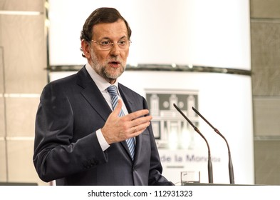 MADRID, SPAIN - SEPTEMBER 06: Spanish Prime Minister Mariano Rajoy speakes at a press conference at the visit of German Chancellor Merkel in the Moncloa Palace on September 06, 2012 in Madrid, Spain.