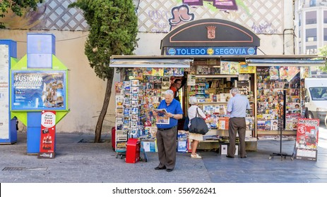 MADRID, SPAIN SEPTEMBER -11, 2015: Street kiosk with newspapers, magazines and various printed materials in Madrid
