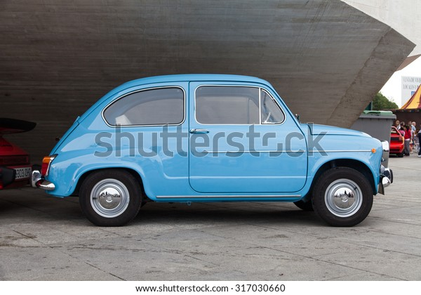 MADRID - SPAIN - SEPTEMBER 11 2015 - an old Seat 600 parked in the street. Vehicle manufactured in Spain between 1957 and 1973