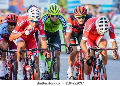 Madrid, Spain - September 13, 2018.   La Vuelta 2018 - Stage 21. A group of cyclists escape from the peloton at the beginning of the stage.