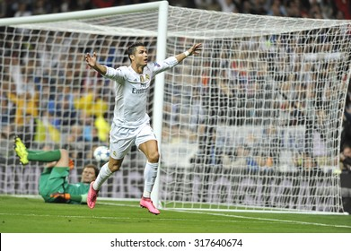 MADRID, SPAIN - September 15th, 2015 :  CRISTIANO RONALDO of REAL MADRID celebrates scoring goal during UEFA Champions League match vs SHAKHTAR DONETSK at Santiago Bernabeu Stadium