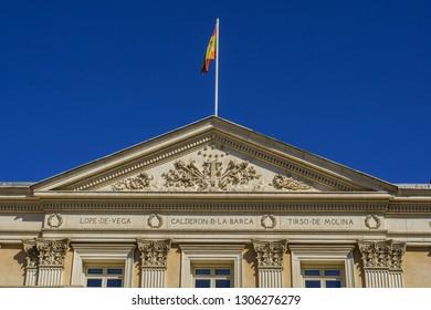 MADRID, SPAIN - SEPTEMBER 16, 2016: Facade of Madrid Spanish Theater (Teatro Espanol former Teatro del Principe, 1583) at Plaza Santa Ana.