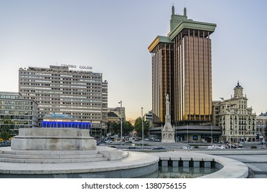 MADRID, SPAIN - SEPTEMBER 16, 2016: Madrid Columbus square (plaza de Colon) with high office building Torres de Colon and monument to explorer Christopher Columbus (Cristobal Colon).