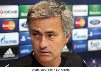 MADRID, SPAIN - SEPTEMBER 17: Jose Mourinho press conference, pregame Champions League, Manchester City return leg on September 17, 2012 in Valdebebas.