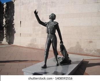 Madrid Spain - September 18, 2015: Statue of toreador in front of wall near Las Ventas - bullring in Madrid.