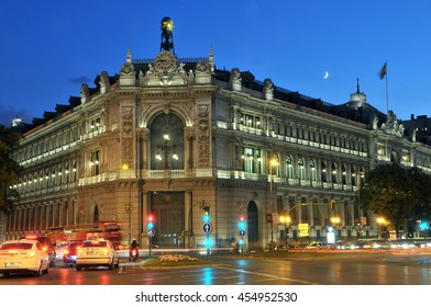 MADRID, SPAIN - september 19, 2012: Night view of the building of the Bank of Spain , illuminated