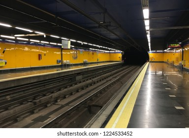 Madrid, Spain - September 19 2018:  The metro station at Madrid Airport