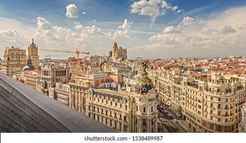 Madrid, Madrid, Spain - September 19, 2019: Panorama of Madrid.