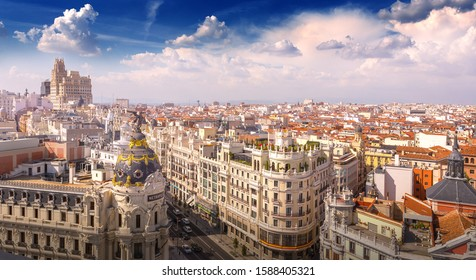 Madrid, Spain - September 19, 2019: Panoramic view of Madrid with Gran Via.