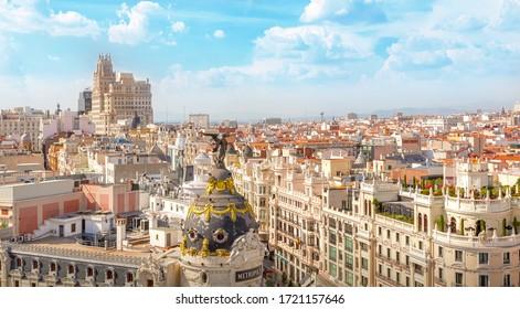 Madrid, Spain - September 19, 2019: Panorama of the city. Alcala street (Calle de Alcala). Gran Via street (Calle Gran Via).