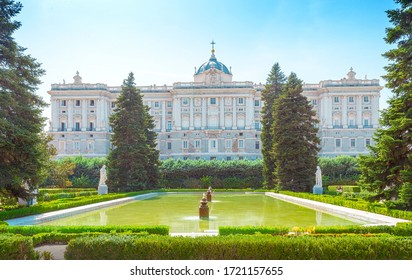 Madrid, Spain - September 19, 2019: View of the Royal Palace and Sabatini Gardens.