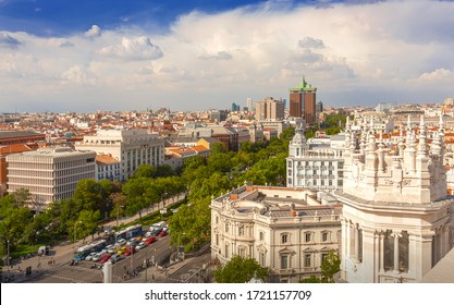 Madrid, Spain - September 19, 2019: Panorama of the city. Paseo de Recoletos.