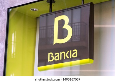 MADRID, SPAIN - SEPTEMBER 2, 2019. Bankia logo on Bankia bank branch office. Bankia is a Spanish bank that was formed consolidating the operations of seven regional savings banks