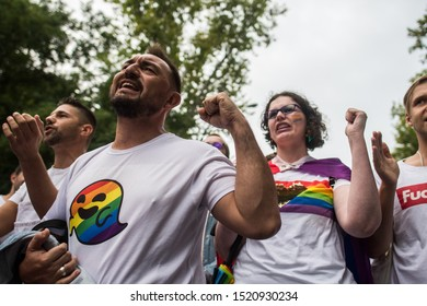 MADRID, SPAIN. SEPTEMBER 21, 2019. People protesting during a demonstration where LGBTQ community demonstrate under the slogan 'Against Fascism', protesting against far right wing policies.