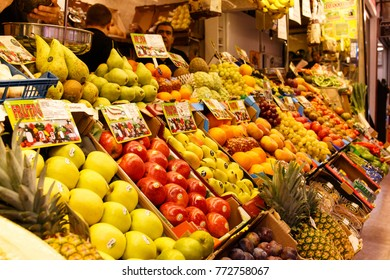 Madrid, Spain, September, 23 2017 Spanish tipical action market day. Fruit and vegetable stand in a market in madrid