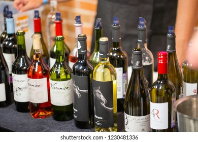 Madrid, Spain - September 27, 2015: Bottles of Spanish Wine for Tasting