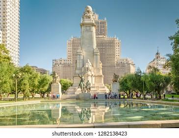 "Madrid, Spain - September 28, 2018: Square of Spain (Plaza de Espana). Monument to Cervantes and the skyscraper ""Spain""."