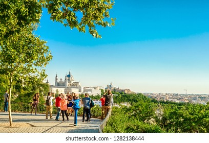 Madrid, Spain - September 28, 2018: Panorama of the city overlooking the Royal Palace and Almudena Cathedral.