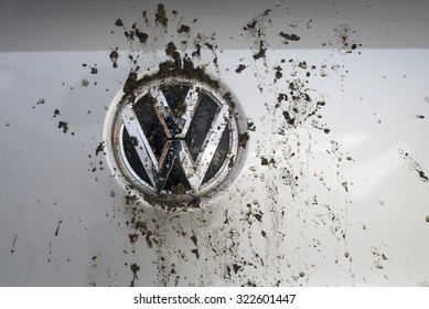 MADRID, SPAIN - SEPTEMBER 29, 2015: Logo bedraggled a Volkswagen Tiguan TDI
