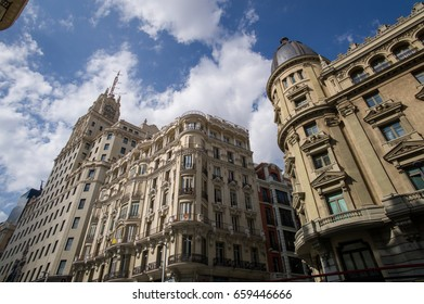 Madrid, Spain - September 29 2015: The commercial buildings on Gran Via, where  busiest street in the city.