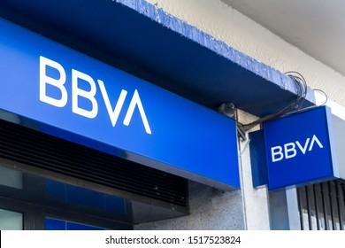 MADRID, SPAIN - SEPTEMBER 29, 2019. BBVA logo on BBVA bank branch office. BBVA is the second largest bank in Spain