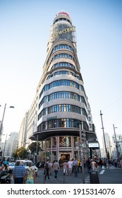 Madrid, Spain - September 30th 2019:  Edificio Carrion during a nice afternoon with clean sky. It is one of most popular buildings of  Madrid's Gran Via street. It's known also as Edificio Capitol