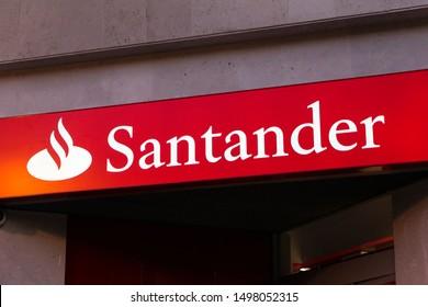 MADRID, SPAIN - SEPTEMBER 6, 2019. Santander logo on Santander bank office. Santander is a spanish bank founded in 1857