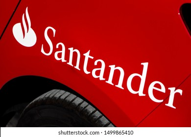 MADRID, SPAIN - SEPTEMBER 8, 2019. Santander logo on Santander bank office. Santander is a spanish bank founded in 1857