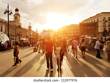 MADRID, SPAIN - SEPTEMBER 8: Puerta del Sol, Madrid, one of the famous landmarks of the capital and the centre (Km0) of the radial network of Spanish roads on September 8, 2012 in Madrid, Spain