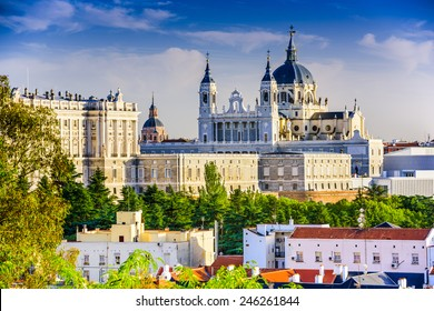 Madrid, Spain skyline at Santa Maria la Real de La Almudena Cathedral and the Royal Palace.