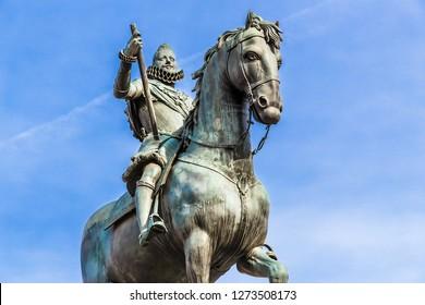 Madrid, Spain. Statue of King Philip III (1616) on the Plaza Mayor