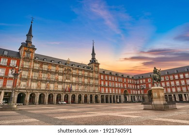 Madrid Spain, sunrise city skyline at Plaza Mayor