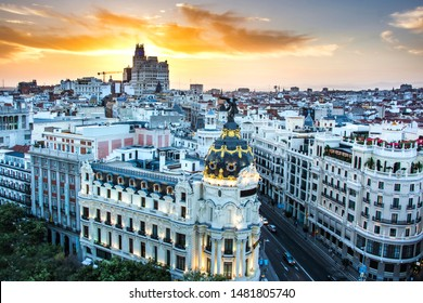 Madrid Spain sunset, Skyline view of Madrid where Gran via and Calle de Alcala meet during sunset, Spain