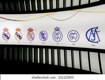 MADRID, SPAIN-AUGUST 18: All the logos of Real Madrid football club since 1902, on August 18, 2014 in Madrid, Spain. Real Madrid C.F. was established in 1902.