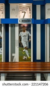 MADRID, SPAIN-AUGUST 18: Clothing locker of Cristiano Ronaldo in Santiago Bernabeu Stadium.