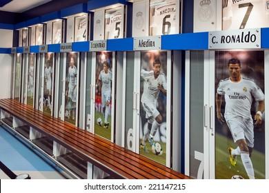 MADRID, SPAIN-AUGUST 18: Clothing locker of the football players in Santiago Bernabeu Stadium.