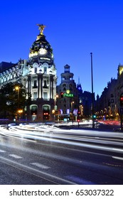 MADRID, SPAIN-AUGUST, 4 2013: Alcala street with light trails and Metropolis building.