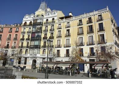 Madrid, Spain-December 8: Building on the plaza Oriente in the center of Madrid on December 8,2014 in Madrid, Spain