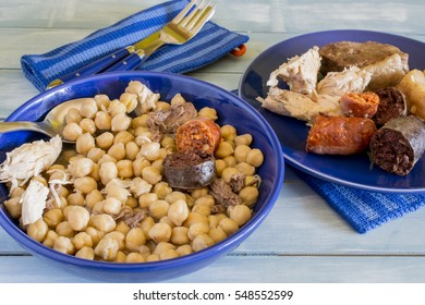 Madrid stew, typical Spanish dish with chickpeas, vegetables and meat