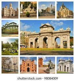 Madrid. Symbols of the capital of Spain. Puerta de Alcala, Almudena, Arena Las Ventas, Retiro Park. Collage.