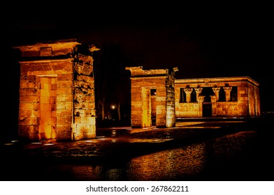 Madrid. Temple of Debod at night in Madrid, Spain. Debod's Temple is a gift from egyptian government to the city of Madrid