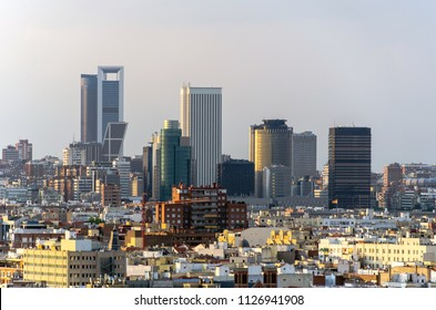Madrid, view of financial district with the most known modern skyscrapers and office buildings at sunset. cityscape, skyline, landmark