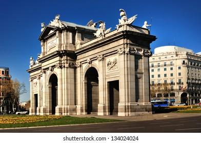 Madrid. View of Puerta de Alcala. Spain