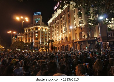 MADRID-SEPTEMBER 29:  Thousands of demonstrators rally near parliament in Madrid in anger at the government's handling of the economic crisis on September 29, 2012 in Madrid, Spain.