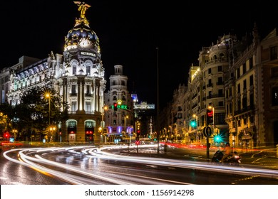 Madrid/Spain - 07/31/13: Night view of Metropolis Building and traffic light trails