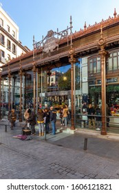 Madrid,Spain 12/23/2019 Mercado de San Miguel (San Miguel Market) in central Madrid is a covered market where stunning architecture and beautiful food come together. Various kind of food is being sold